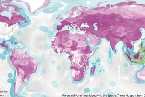 Este mapa muestra las ubicaciones destacadas de amenaza de especies causados por el consumo de los Estados Unidos. Cuanto más oscuro es el color, mayor es la amenaza causada por el consumo. El color magenta representa especies terrestres, mientras que el azul representa especies marinas.