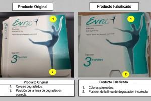 Comparación entre producto original y falsificación