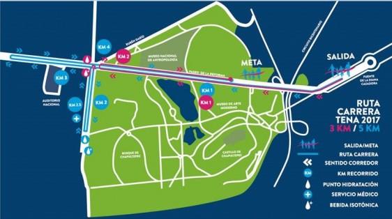 Ruta de la 11ª edición de la Carrera Caminata TENA