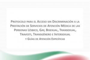"""Portada del """"Protocolo para el Acceso sin Discriminación a la Prestación de Servicios de Atención Médica de las Personas Lésbico, Gay, Bisexual, Transexual, Travesti, Transgénero e Intersexual (LGBTTTI)"""""""