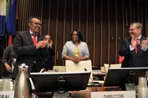 La doctora Carissa F. Etienne fue reelegida este 27 de septiembre de 2017 para un segundo mandato de 5 años como Directora de la Organización Panamericana de la Salud (OPS) por los Estados Miembros de la organización.