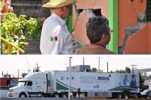 Por instrucciones del Secretario de Salud, José Narro, se trasladaron a la zona afectada unidades médicas móviles tipo tráiler llamados Atlantes, que darán desde servicios básicos hasta especialidad.