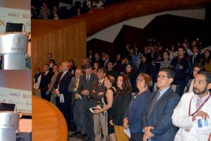 La inauguración del foro que se llevó a cabo en el INMEGEN, estuvo a cargo del titular de la Comisión Coordinadora de los Institutos Nacionales y Hospitales de Alta Especialidad, doctor Guillermo Ruiz Palacios.