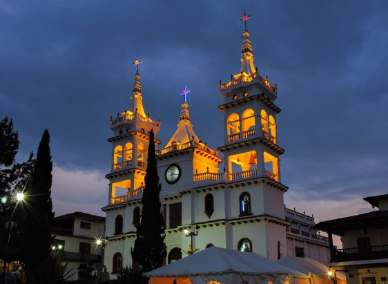 Church of Mazamitla, Jalisco, Mexico by night