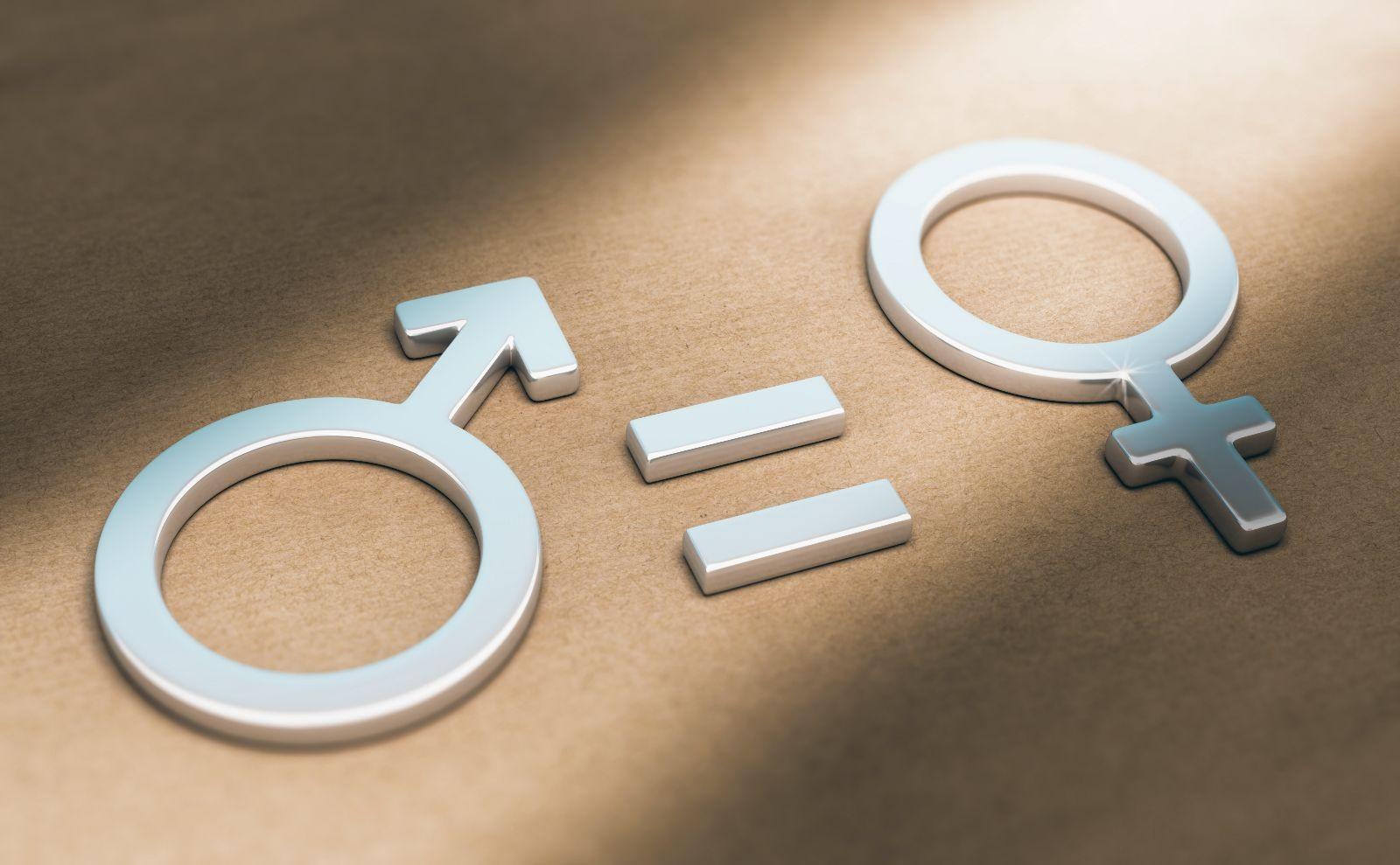 Ilustración 3d de simbolos de masculino y demenino symbolos con un signo de igual