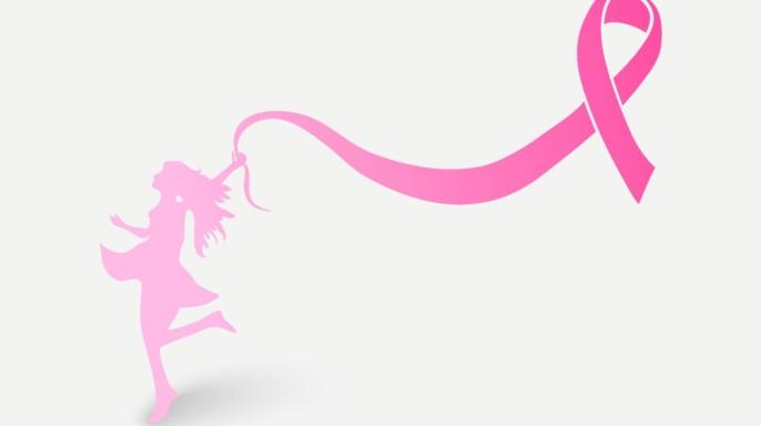 Ilustración de una mujer caminando con globo en forma de listón rosa
