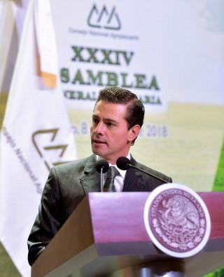 """Al clausurar la 34ª Asamblea General Ordinaria del Consejo Nacional Agropecuario (CNA), el Presidente de la República, Enrique Peña Nieto, afirmó que """"hoy, México, hay que decirlo, es auténticamente una potencia mundial en materia agroalimentaria""""."""