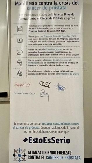 Firmas en el manifiesto contra la crisis del cáncer de próstata