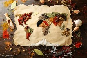tela perforada con mapa mundo comida