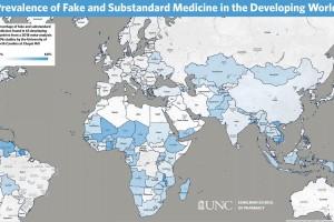 El mapa codificado por colores muestra el porcentaje de medicamentos falsos y de calidad inferior encontrados en 63 países en desarrollo.
