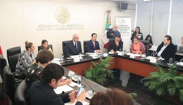 Comparecencia del director general del Instituto Mexicano del Seguro Social (IMSS), Tuffic Miguel Ortega, ante la Comisión de Salud, que preside el senador Miguel Ángel Navarro Quintero
