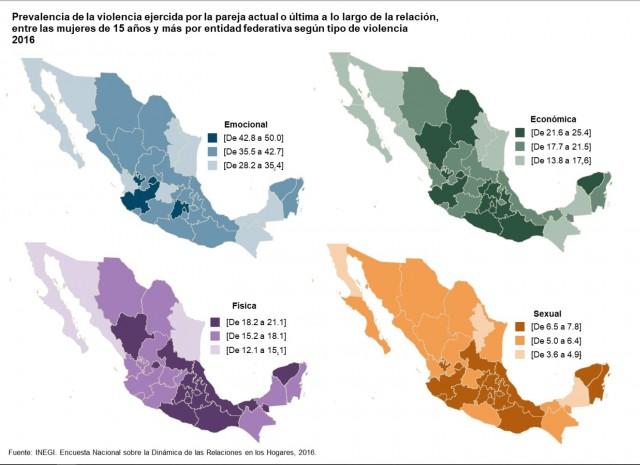 Prevalencia de la violencia por la pareja actual o última a lo largo de la relación, entre mujeres de 15 años y más por entidad federativa según tipo de violencia 2106