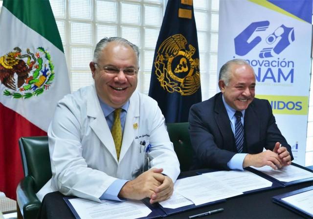 Los titulares de la Coordinación de Innovación y Desarrollo, Juan Manuel Romero Ortega, y de la Facultad de Medicina, Germán Fajardo Dolci, firmaron dos bases de colaboración