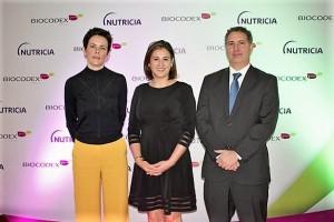 De izquierda a derecha: Aude Boclé, Directora  General de Biocodex México; Dra. Sydney Greenawalt, médico pediatra con maestría en nutrición clínica, y Nicolás Llorens, Country Manager México de Nutrición Especializada  en Danone Company
