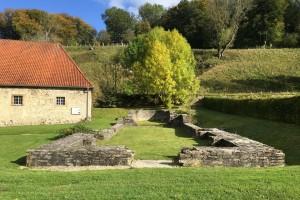 Estos son los cimientos de la iglesia asociada con una comunidad religiosa de mujeres en Dalheim, Alemania.