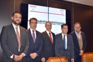 Los directores del IMSS, ISSSTE y Pemex, y el director general del CENAPRECE, Ruy López Ridaura, el Subsecretario.
