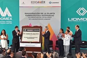 Asiste Gobernador mexiquense a la inauguración de la  Planta Farmacéutica Ocoyoacac de Laboratorios Liomont.