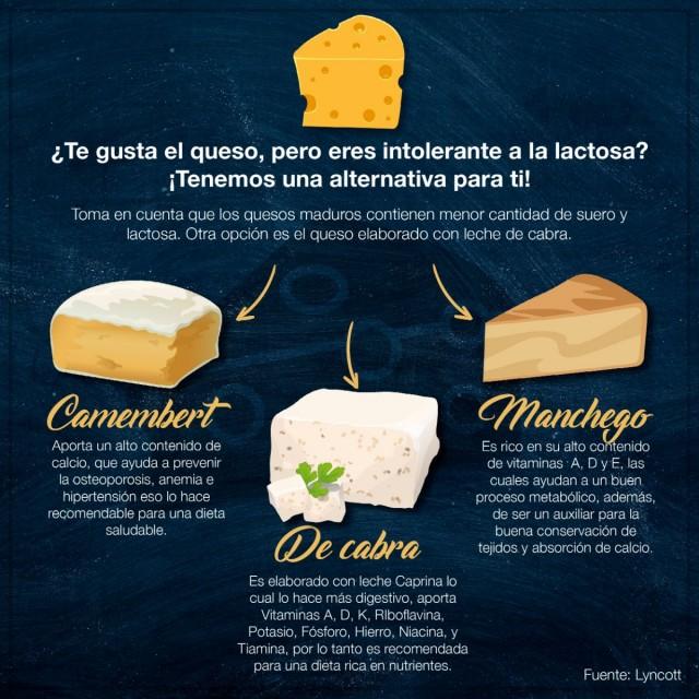 Los quesos que pueden representar una alternativa para los intolerantes a la lactosa son: ·         Queso manchego: Al tratarse de un queso que tiene una maduración mínima de 30 días, es adecuado para los intolerantes a la lactosa, por ser más digestivo. Además, es de uso común en nuestro país con diversas aplicaciones en la gastronomía. Las propiedades de este tipo de queso coinciden con otros lácteos donde también están presentes las vitaminas A, D y E, necesarios en procesos metabólicos como la conservación de tejidos y absorción de calcio.   ·         Quesos de cabra: Como su nombre lo indica, están elaborados con leche caprina, que es mucho más digestiva que la leche de vaca. Además, de acuerdo con la presentación de este producto, puede consumirse como bocadillo o en ensaladas. Además, es una fuente rica en vitamina A, D, K y riboflavina, potasio, fósforo, hierro, niacina y tiamina, elementos necesarios para el organismo.   ·         Camembert: Su principal característica es que tiene una maduración de dos meses como mínimo. Comúnmente se consume en pequeñas porciones acompañado de otros alimentos, incluso como salsas, una vez despojados de su corteza enmohecida. Por tratarse de un lácteo es un alimento recomendable para una dieta rica en nutrientes y por su gran aporte de calcio es ideal para prevenir la osteoporosis, anemia e hipertensión.