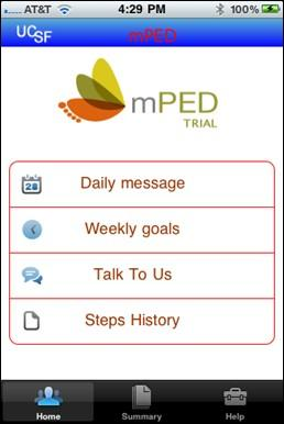 Una captura de pantalla del teléfono móvil con la aplicación de prueba mPED muestra una página de inicio que incluye un menú de mensajes diario utilizado por las mujeres en la intervención del estudio, incluidos los grupos regulares y más. Un mensaje o video clip interactivo interactivo preprogramado aparece automáticamente a una hora predeterminada.