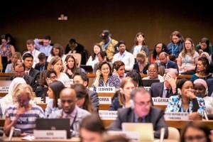 Delegados de la comisión A trabajando en la 72 Asamblea Mundial de la Salud