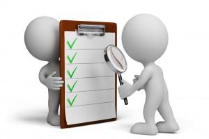 Ilustración de una lista de verificación siendo inspeccionada