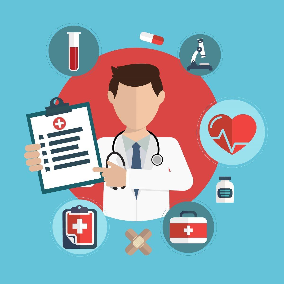 Ilustración de medico con puntos a reconocer