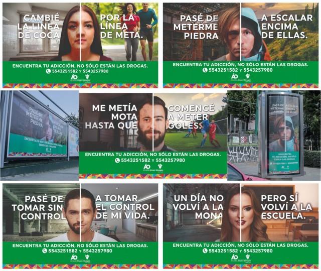 """Collage campaña """"ENCUENTRA TU ADICCIÓN. NO SÓLO ESTÁN LAS DROGAS"""""""