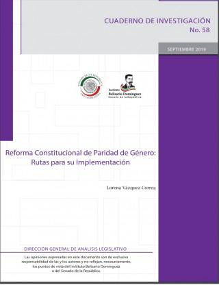 Portada Reforma Constitucional de Paridad de Género: Rutas para su Implementación