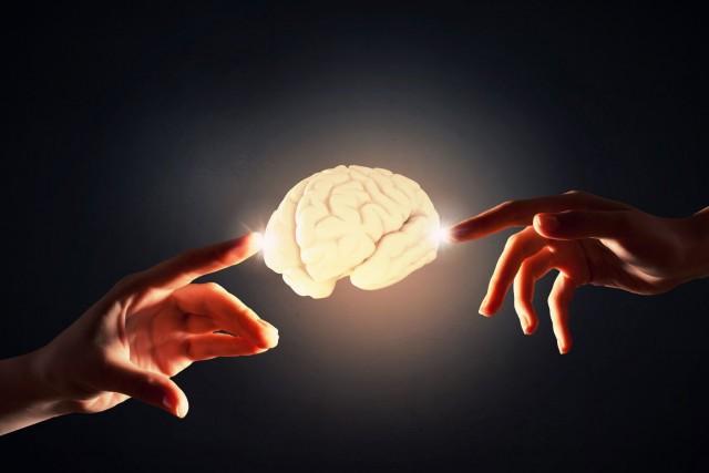 Dos manos alcanzando un cerebro