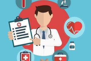 Medico sostiene tableta se encuentra rodeado de con iconos de temas médicos