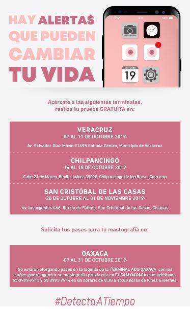 El recorrido de la Caravana Rosa ADO inicia el próximo lunes 07 de octubre en Veracruz, Veracruz.