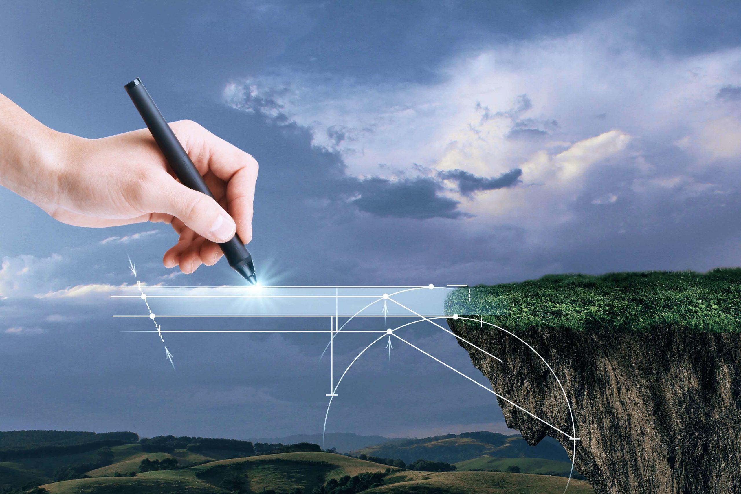 Puente digital dibujo mano