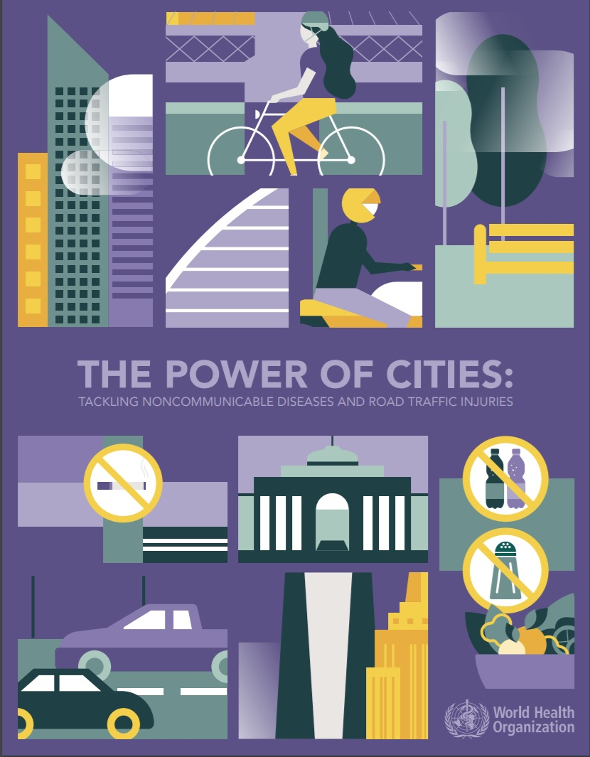 "Portada del informe ""The Power of Cities: Tackling Non-Communicable Diseases and Road Traffic Injuries"""