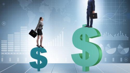 Concepto de salarios desiguales y brecha de género entre hombre mujer