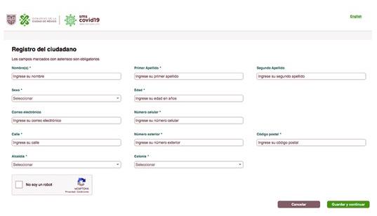 Página cuestionario sobre Covid-19 del Gobierno de la CDMX