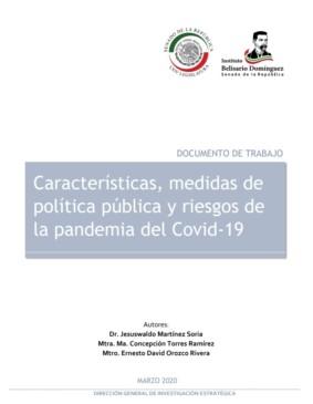 Portada Características, medidas de política pública y riesgos de la pandemia del Covid-19