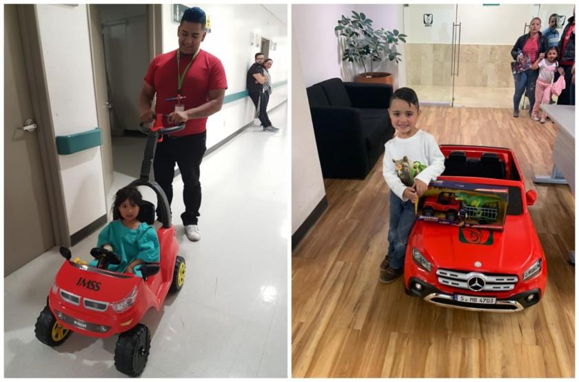 niña y niño viajando en carrito electrico hacia quirofano
