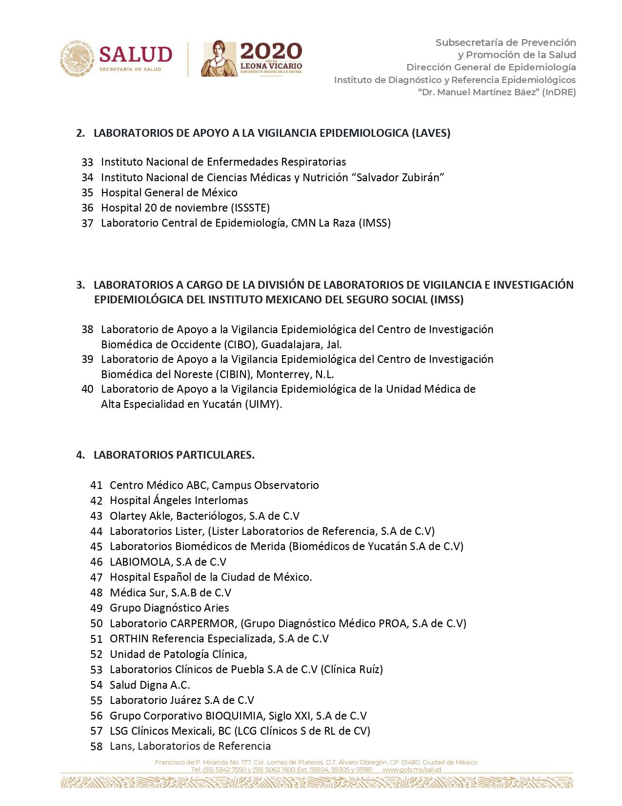 Instituto de Diagnóstico y Referencia Epidemiológicos (InDRE).