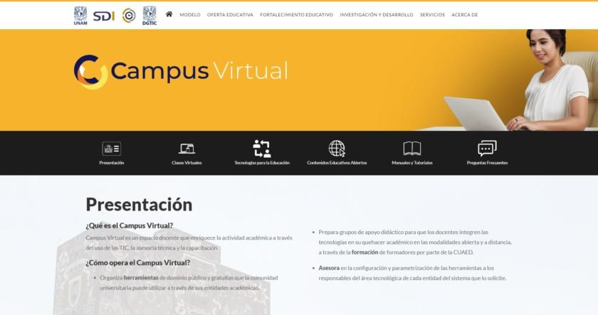 "Captuta de pantalla de Universidad Nacional Autonoma de México ""Campus Virtual"""