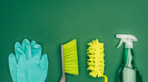 Productos de limpieza como guantes, cepillos, fibras