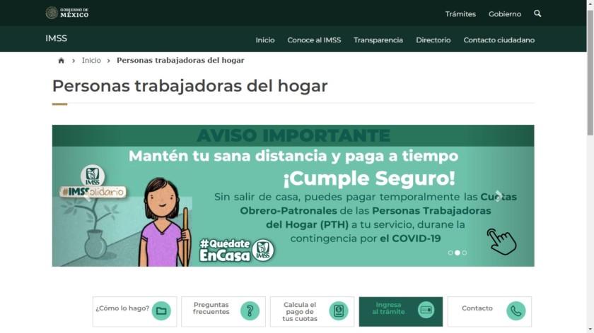 Pantalla del servicio Facilita IMSS pago de cuota en línea para personas trabajadoras del hogar