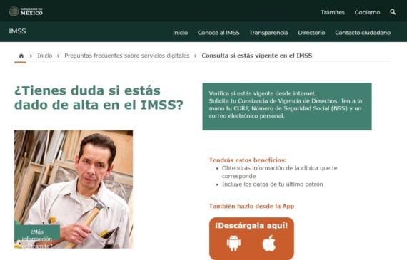 Pantalla del servicio de vifencia de derechos del IMSS