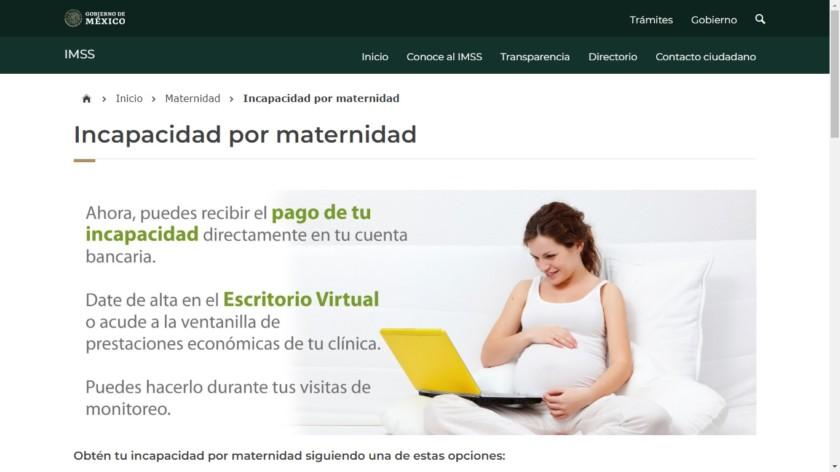 Página web de Incapacidad por maternidad
