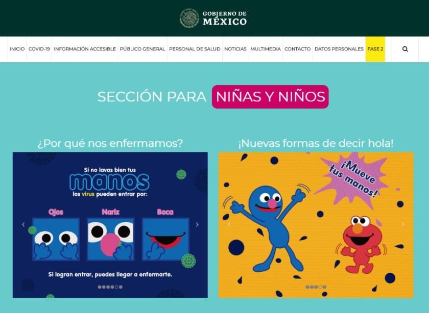Captura de pantalla sección niñas y nIños COVID-19 de la Secretaría de Salud