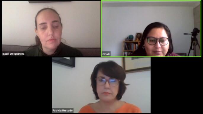 senadoras Patricia Mercado Castro, de MC y Citlalli Hernández Mora, de Morena, al participar en el Conversatorio virtual ¿Qué se aprobó con la Ley de Amnistía?