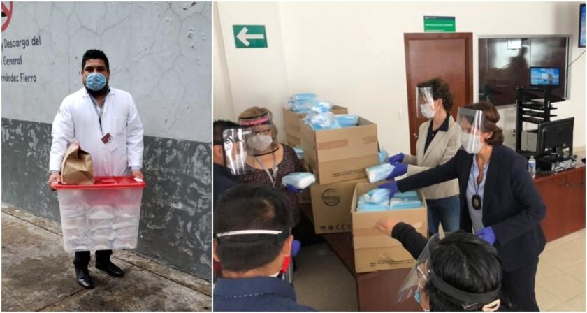 Personas entregando materiales