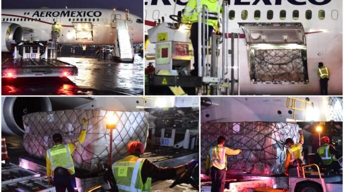 Mosaico de imágenes de avión descargando cargamento
