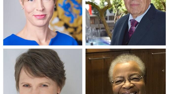 Kersti Kaljulaid, Helen Clark, Jorge Alcocer Varela y Graca Machel