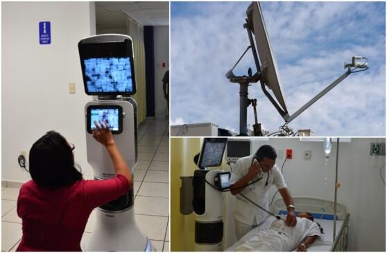 Mosaico de imagenes de equipos de telemedicina