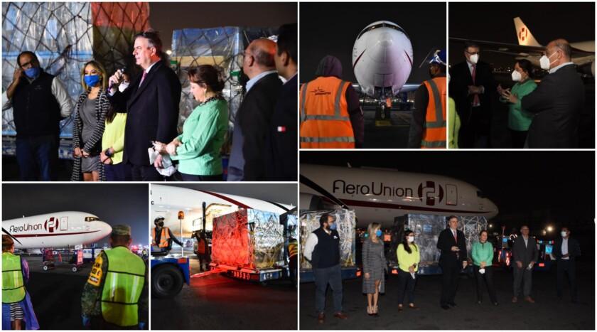 Mosaico de imagenes de donación de dos mil respiradores por parte del sector privado